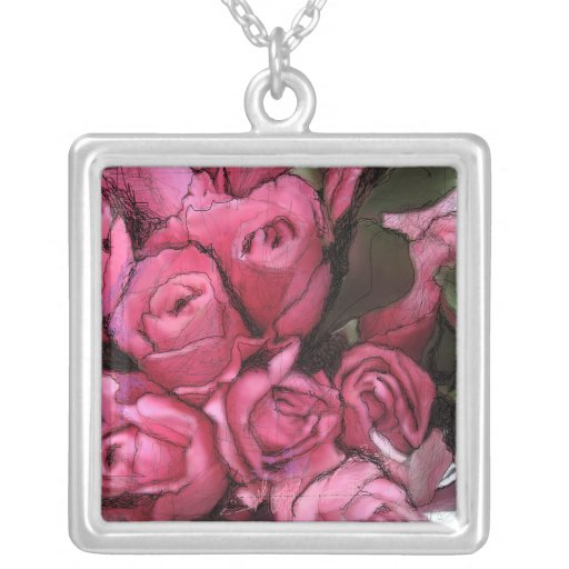 Black roses and pink pendant