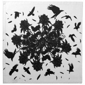 Black roses and ravens napkin