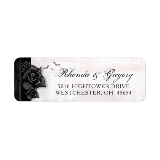 Black Roses Bats Gothic Halloween Wedding Address