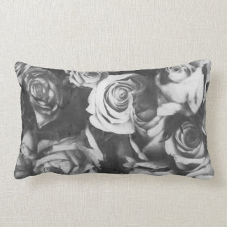 Black roses lumbar pillow