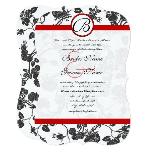 Black Roses Red Trim Wedding Invitation