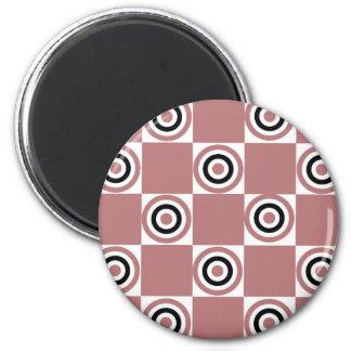 Black Rosy Diner Dots 2 Inch Round Magnet