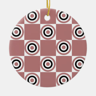 Black Rosy Diner Dots Round Ceramic Ornament