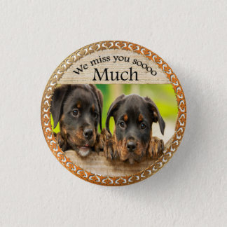 Black Rottweiler cute puppy dogs with sad faces 1 Inch Round Button