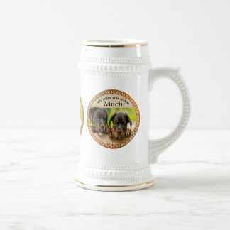 Black Rottweiler cute puppy dogs with sad faces Beer Stein