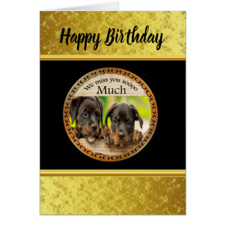 Black Rottweiler cute puppy dogs with sad faces Card