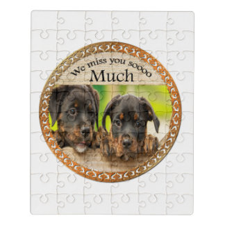 Black Rottweiler cute puppy dogs with sad faces Jigsaw Puzzle