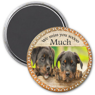 Black Rottweiler cute puppy dogs with sad faces Magnet