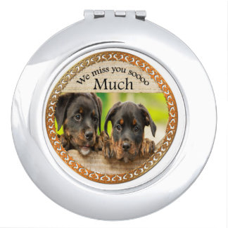 Black Rottweiler cute puppy dogs with sad faces Makeup Mirrors