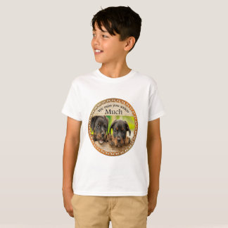 Black Rottweiler cute puppy dogs with sad faces T-Shirt