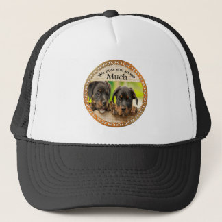 Black Rottweiler cute puppy dogs with sad faces Trucker Hat