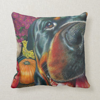 Black Rottweiler Dog Autumn Harvest Pumpkin Art Throw Pillow
