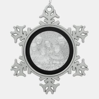 Black Round Border Snowflake Pewter Christmas Ornament