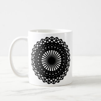 Black Round Lace Style Pattern. Coffee Mug