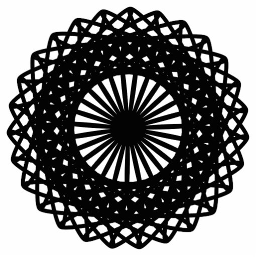 Black Round Lace Style Pattern. Photo Sculptures
