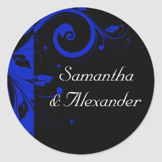 Black/Royal Blue Reverse Swirl Wedding Classic Round Sticker