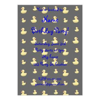 Black rubber duck pattern invites