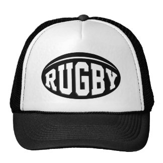 Black Rugby Ball With White Lettering Trucker Hat