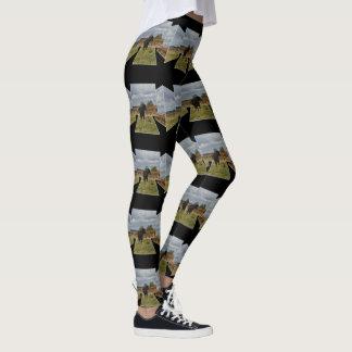 Black Runaway Cow Dimensional Art, Black Leggings