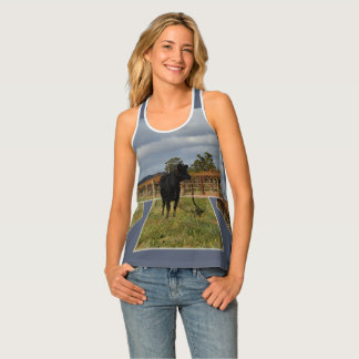 Black Runaway Cow Dimensional Art Frames, Tank Top