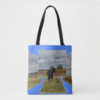 Black Runaway Cow Dimensional Art Frames, Tote Bag