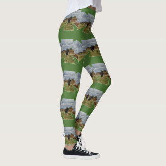 Black Runaway Cow Dimensional Art, Green Leggings