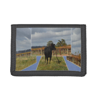 Black Runaway Cow Dimensional Art, Tri-fold Wallet