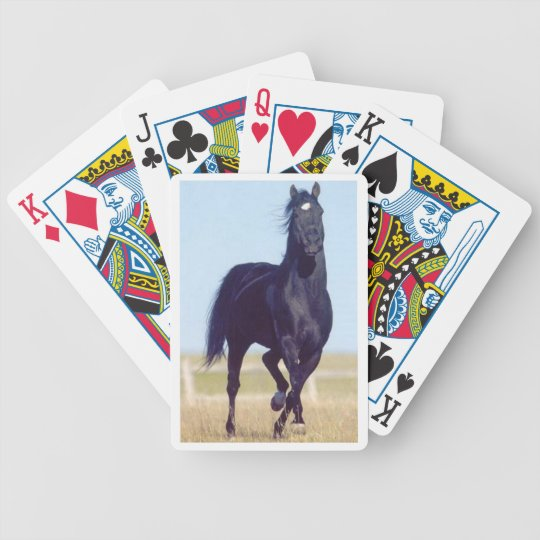 Black Running Horse Playing Cards