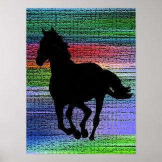 Black Running Horse Poster