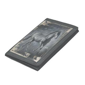 Black Running Stallion Trifold Wallet