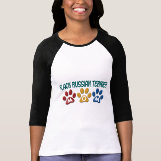 BLACK RUSSIAN TERRIER MOM Paw Print T-Shirt
