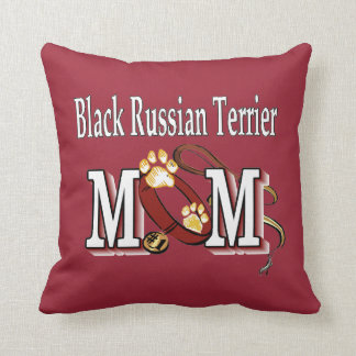 Black Russian Terrier Mom Throw Pillow