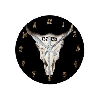 Black Rustic Cow Bull Head Skull Horns Custom Round Clock