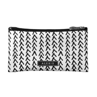 Black Rustic Tribal Pattern Personalized Cosmetic Cosmetics Bags