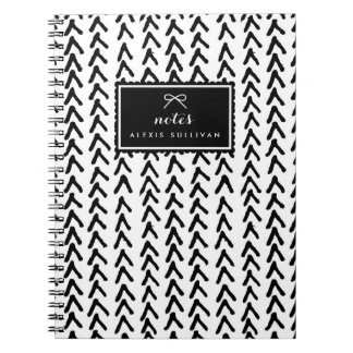 Black Rustic Tribal Pattern Personalized Notebook
