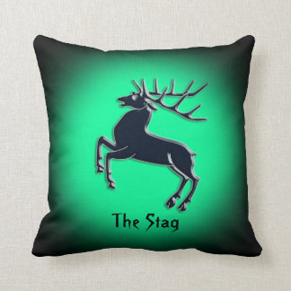Black Rutting Stag on green spotlight effect Throw Pillow