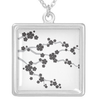Black Sakura Cherry Blossoms Flowers Oriental Zen Silver Plated Necklace