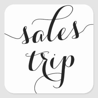 Black Sales Trip Cute Modern Calligraphy Square Sticker