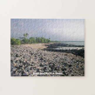 Black Sand Beach in Hawaii Jigsaw Puzzle