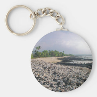 Black Sand Beach in Hawaii Keychain