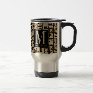 Black Sand Kuba Print Inspired Monogram Travel Mug