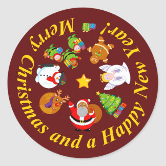 Black Santa Claus and other Christmas characters, Classic Round Sticker