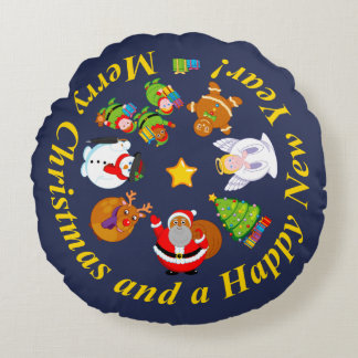 Black Santa Claus and other Christmas characters, Round Pillow