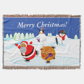 Black Santa Claus and Rudolph ice skating, Throw Blanket