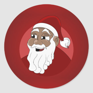 Black Santa Claus Cartoon Classic Round Sticker
