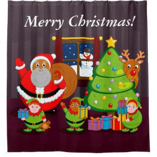 Black Santa Claus delivering Christmas gifts,