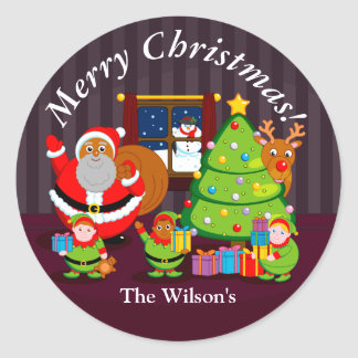 Black Santa Claus delivering Christmas gifts, Classic Round Sticker