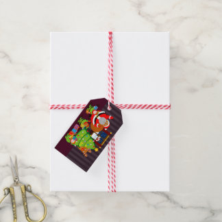 Black Santa Claus delivering Christmas gifts, Gift Tags