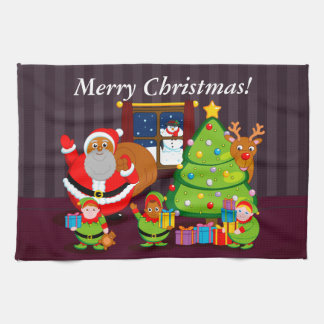 Black Santa Claus delivering Christmas gifts, Kitchen Towel