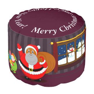 Black Santa Claus delivering Christmas gifts, Pouf
